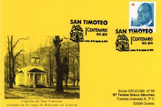 Photo: Matasellos del Centenario de la Capilla de San Timoteo en Luarca