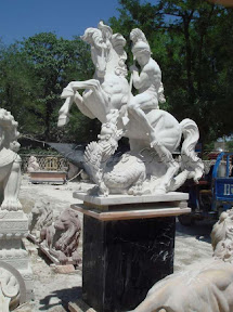 Figure, Horse, Interior, Male, Marble, Natural Stone, Pedestal, Statues