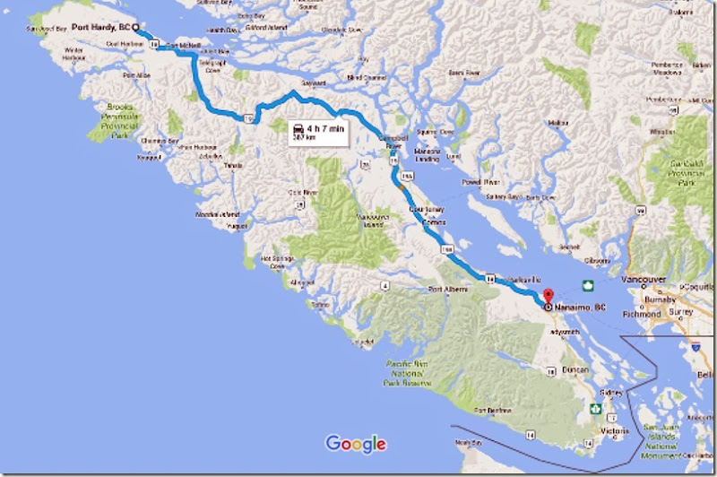 Port Hardy, BC to Nanaimo, BC - Google Maps