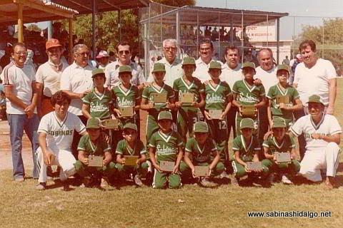 Equipo de la Liga Pequeña Sabinas Hidalgo división menor de 1979