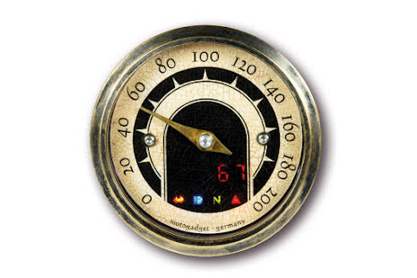 motogadget analogue speedo mst vintage, brass bezel