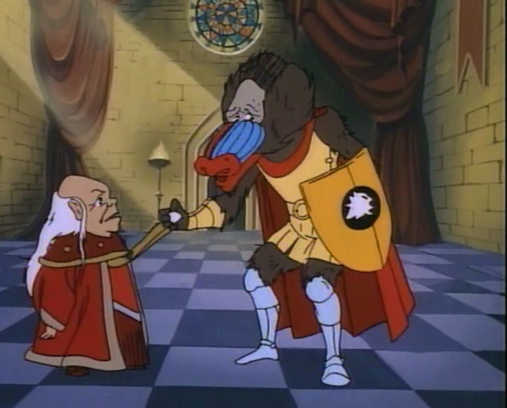 Dungeon Master and Eric, who has been turned into a blue-nosed baboon