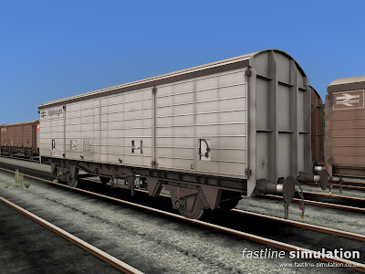 Fastline Simulation: Unique white painted lot 3890 VDA van no. 200987 for RailWorks.