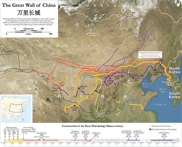 Great Wall of China-map