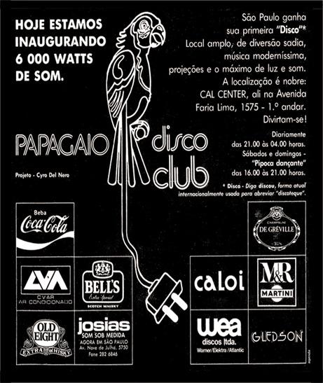 Anúncio Inauguração Papagaio Disco Club - 22 de dezembro de 1976