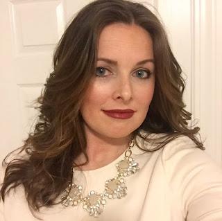 red lips, jcrew dress, statement necklace, curls