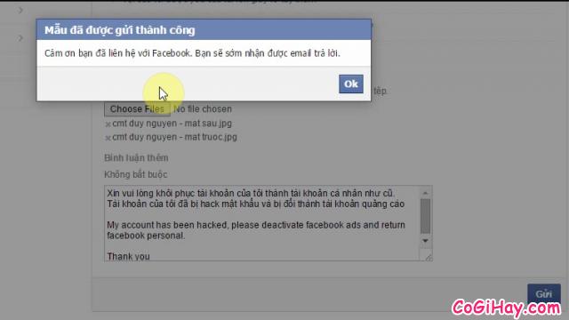 Facebook thông báo bạn đã gửi yêu cầu lấy lại nick Facebook