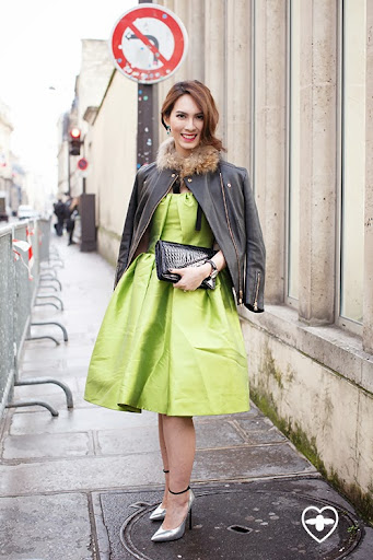 Herlina Prakoso; jewlery designer; The 2nd Skin Company dress; Louis Vuitton jacket; Cassiday shoes; Bottega Veneta bag;
