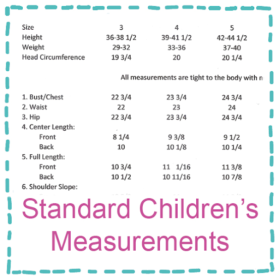 Standard children's measurements