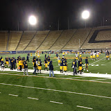 On the field at the Cal Stadium during a practice session.