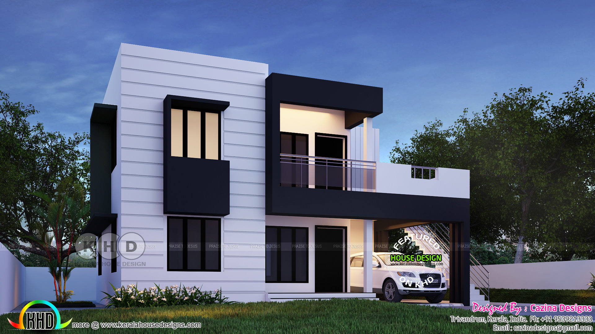 Beautiful flat roof kerala home design 1800 sq ft kerala for House elevation for three floors building