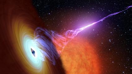 ilustração de buraco negro com disco de acreção e jato de plasma