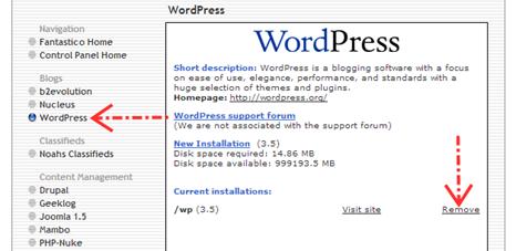 Klik remove untuk meng-uninstall Wordpress