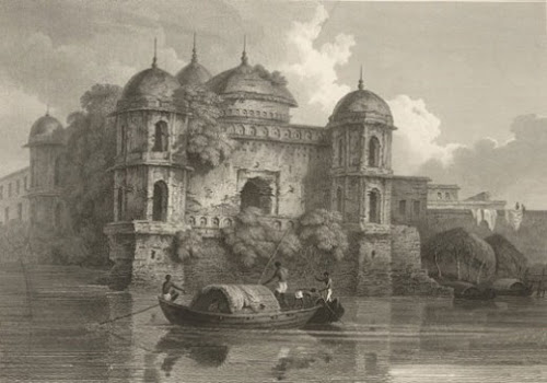 Seven Domed Mosque at Dhaka by D'Oyly, 1820's