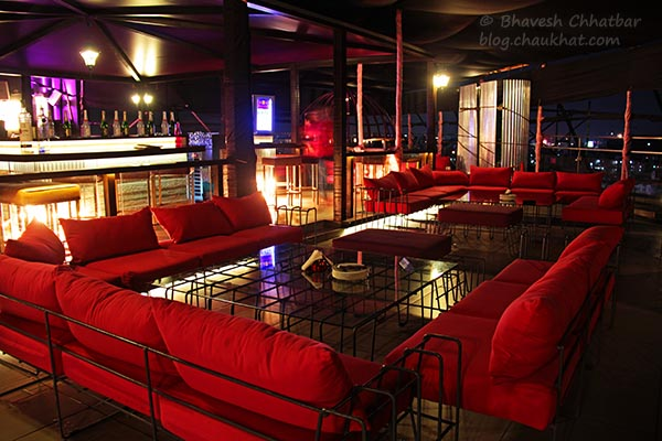 Indoor Couch Seating at The Flying Saucer Sky Bar, Viman Nagar, Pune