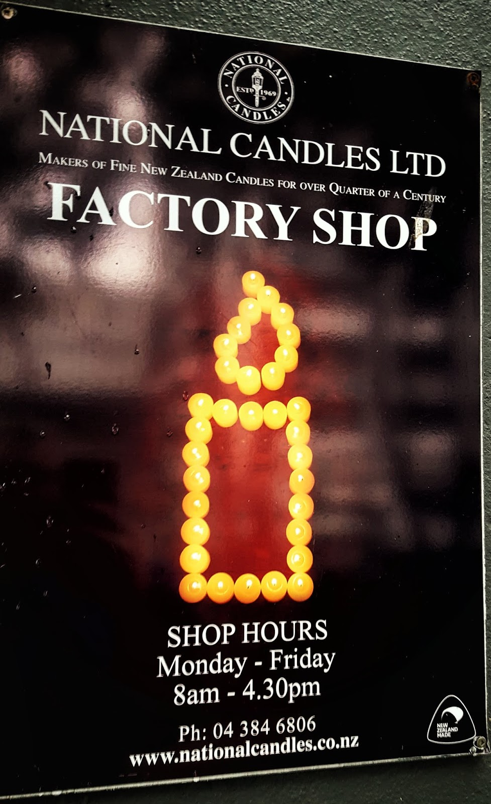 National Candles Ltd shop sign