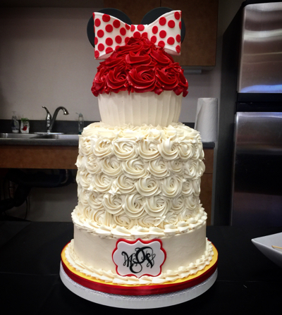 I Made This Minnie Mouse Inspired Birthday Cake A Friends Little Girl Who Turned 2 Years Old Past Friday The Party Was Great And Everyone Really