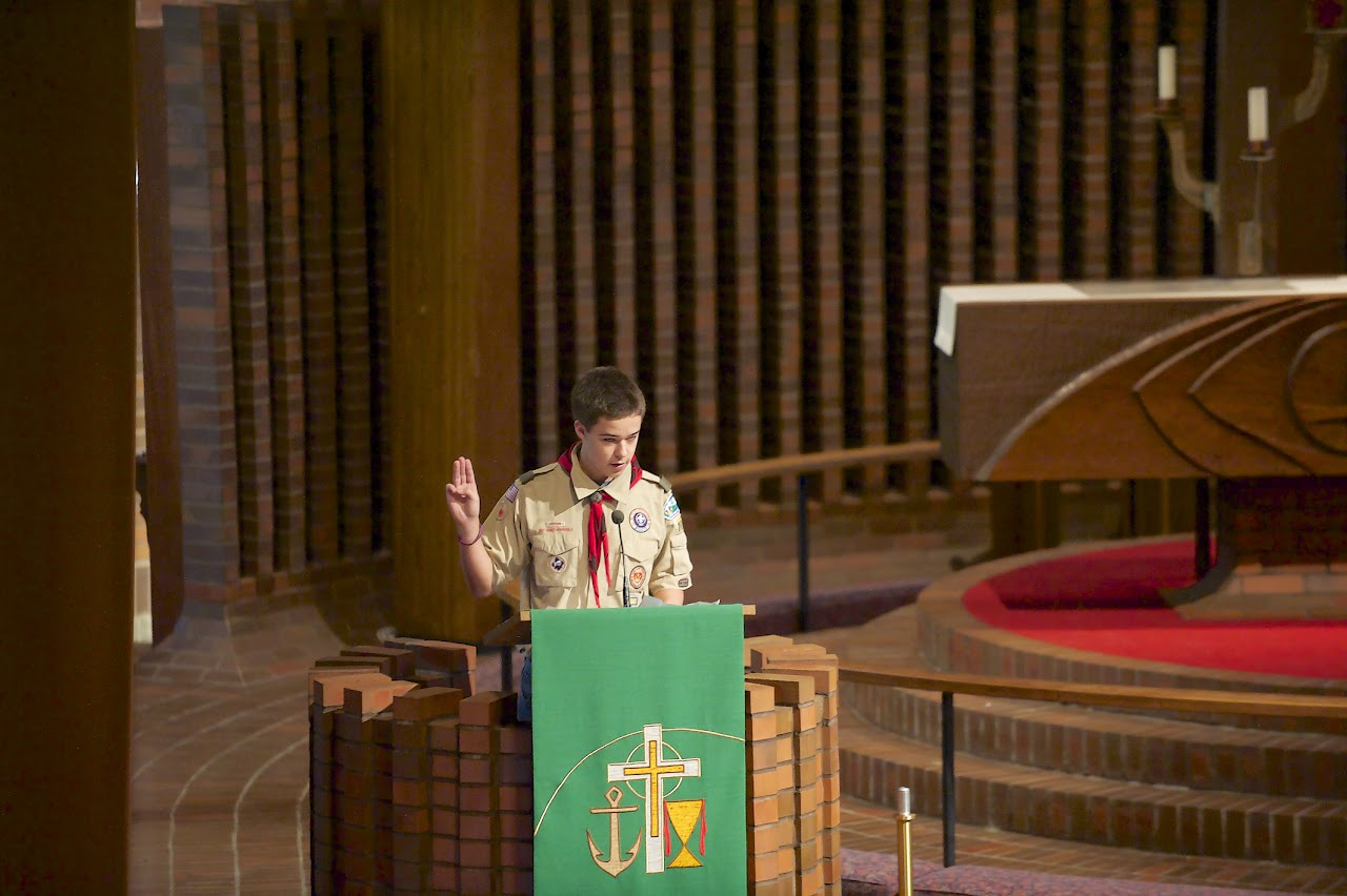 Matthew gives a Temple Talk about Boy Scout Sunday