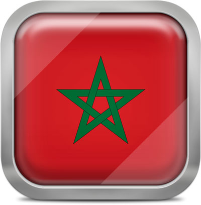 Morocco square flag with metallic frame