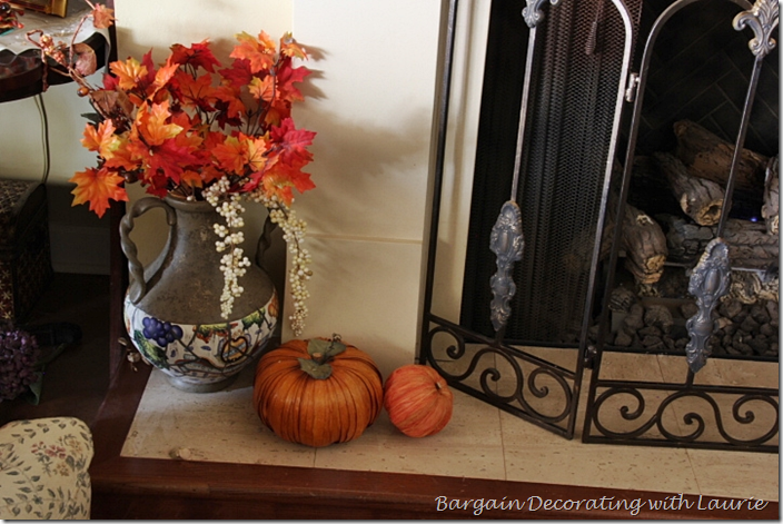 Fireplace Hearth decorated for Thanksgiving