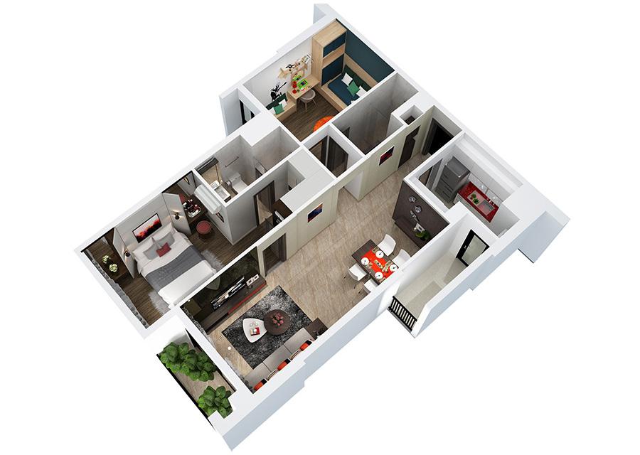 Phối cảnh 3D căn hộ 2 phòng ngủ DT: 79.03m²