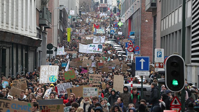 Thousands of Belgian students skipped classes for the fourth week in a row on Thursday, 31 January 2019, to protest against global warming. Photo: Yves Herman / REUTERS