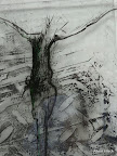 """""""Mensch"""", Glas Schwarzlot, Glas struckturiert, 2005/09"""