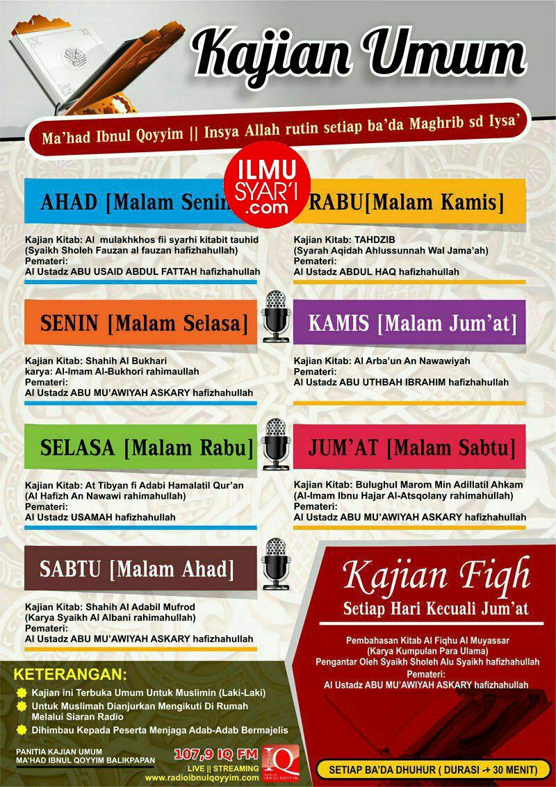 Informasi Jadwal Kajian Sunnah di Balikpapan