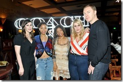 HOLLYWOOD, CA - MARCH 30:  (L-R) Rodarte Co-Founder Laura Mulleavy, actors/singers Chloe Bailey, Halle Bailey, Rodarte Co-Founder Kate Mulleavy, and Coach Creative Director Stuart Vevers attend the Coach & Rodarte celebration for their Spring 2017 Collaboration at Musso & Frank on March 30, 2017 in Hollywood, California  (Photo by Donato Sardella/Getty Images for Coach)