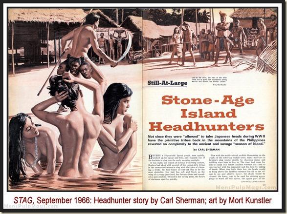 STAG, Sept 1966 - Mort Kunstler GGA headhunters, Carl Sherman story