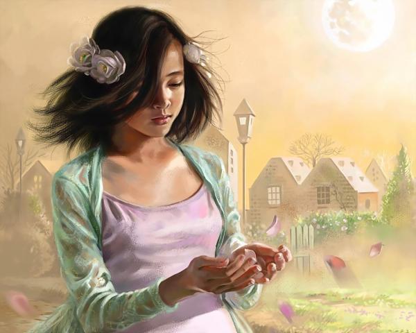 Girl And Rose Petals, Fairies 4