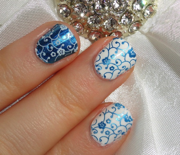 Something Blue Wedding Nail Art 2