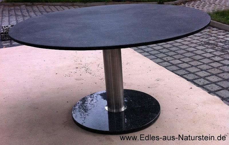 runder esstisch mit fu in edelstahl naturstein tischplatte in granit schwarz ebay. Black Bedroom Furniture Sets. Home Design Ideas