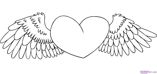 Free Love Heart Drawing Coloring Pages Heart With Wings Coloring Pages  Inside Amazing Hearts With Wings