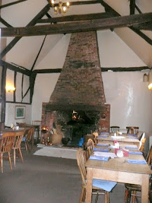 The huge fireplace inside the Queens Head at Bramfield