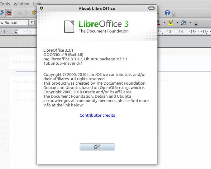 LibreOffice 3.3.1 di Ubuntu 10.10 Maverick Meerkat