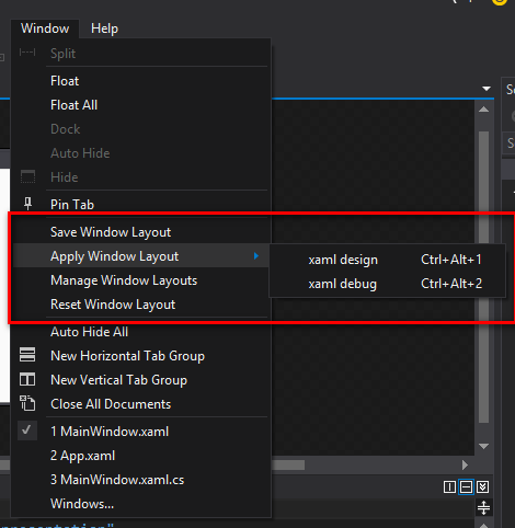 visual studio 2015 custom layout