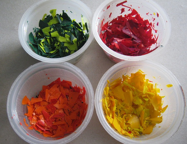 Colorful Waxed Crayon Shavings