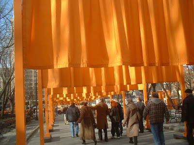 Gates near 110th st. ...Jeanne-Claude (Christo's wife) is the redhead.