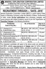MECL Recruitment through GATE 2016 indgovtjobs