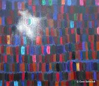 """""""Lichtpunkt in Landschaft"""", Öl auf Leinwand, 80x70, 01/2008"""