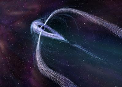 ilustração das caudas de um pulsar