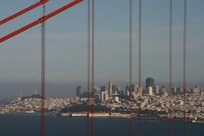 San Francisco framed by the Golden Gate Bridge