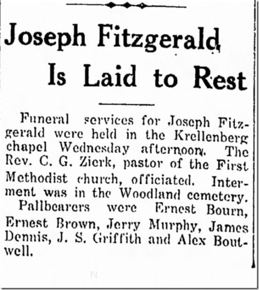 Joseph Fitzgerald Laid to Rest Woodland Daily Democrat 5 Jun 1929 Page 3