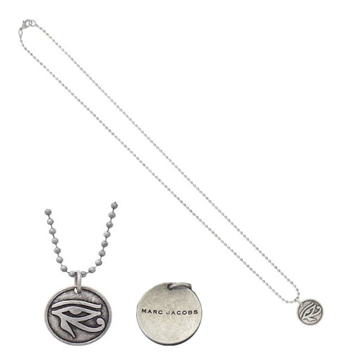 Marc by Marc Jacobs Coin Necklace Good Luck Eye - Antique Silver