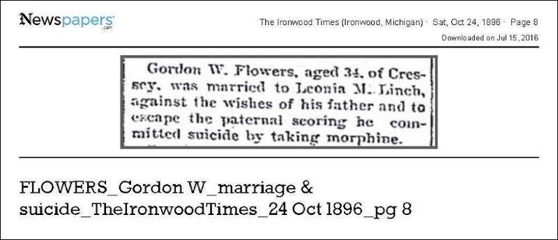 FLOWERS_Gordon_W_marriage__amp__suicide_TheIronwoodTimes_24_Oct_1896_pg_8