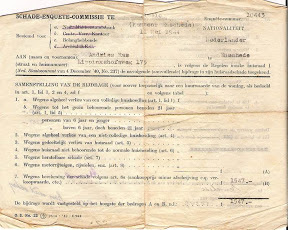 Document schade enquete commissie. bombardement 22 februari 1944. Bron: Henk Ras