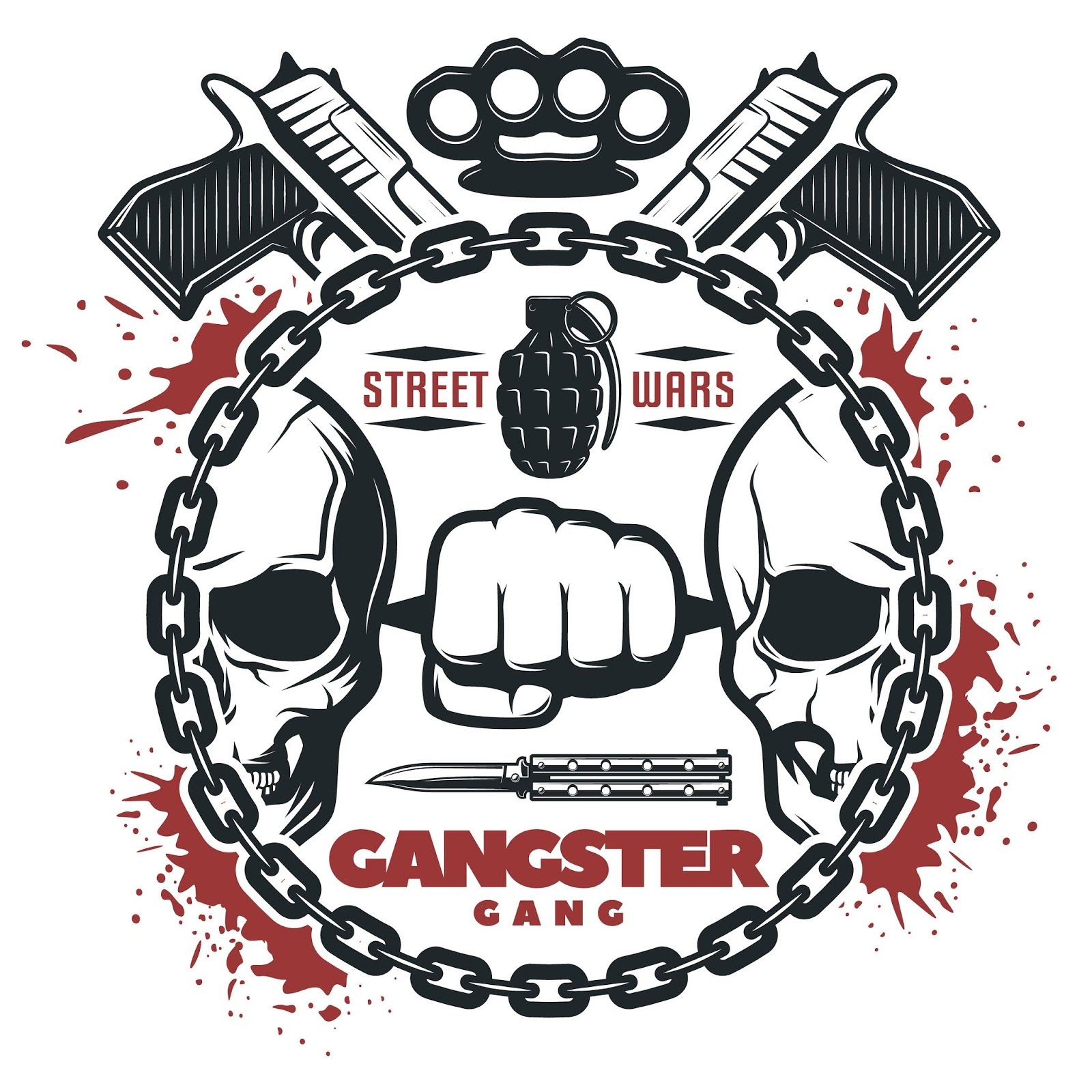 Street Gang Wars Print	 Free Download Vector CDR, AI, EPS and PNG Formats