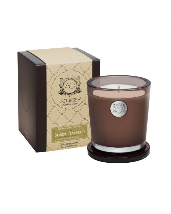 Portfolio large candle bamboo teakwood