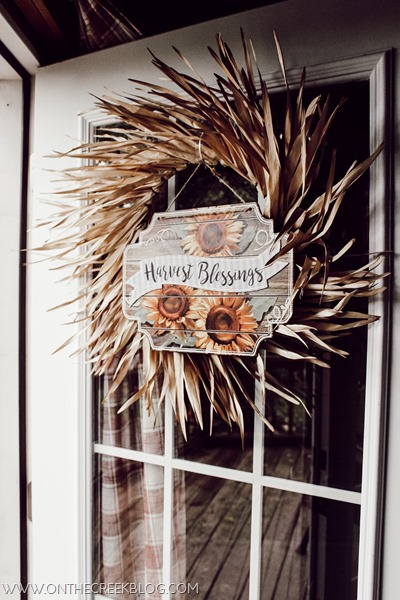 Fall wreath with a sign from the Dollar Tree